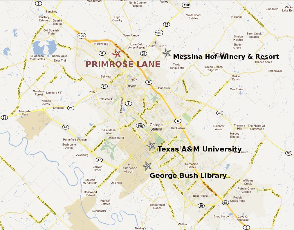 Map to Primrose Lane RV Park
